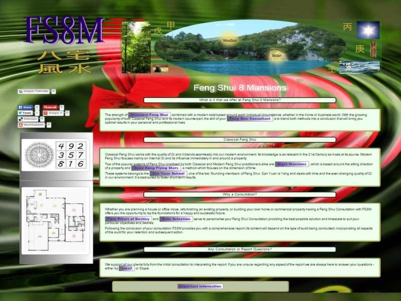 feng shui 8 mansions website screenshot