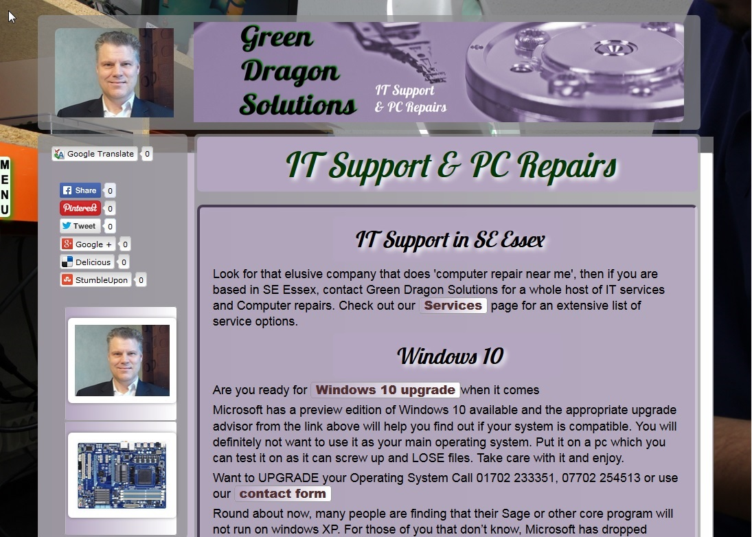 computer services website screenshot