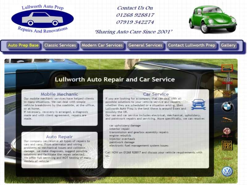 auto preparation website screenshot
