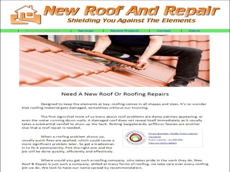 roofing contractor website screenshot